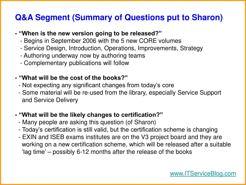 Q&A Segment (Summary of Questions put to Sharon)