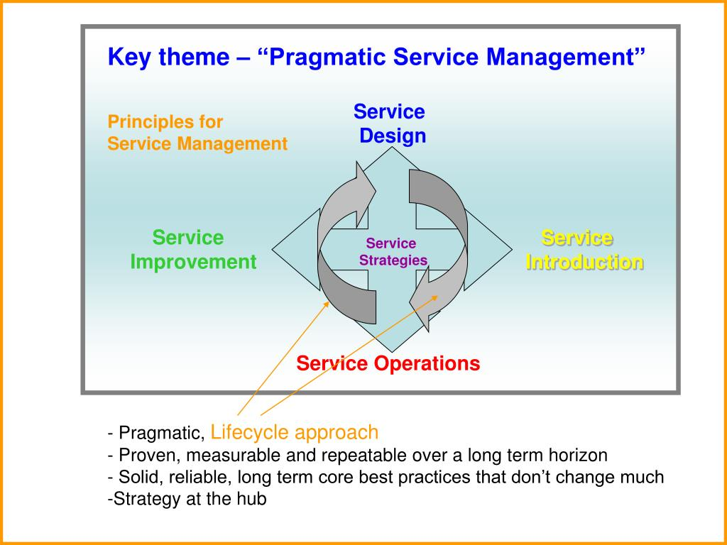 "Key theme – ""Pragmatic Service Management"""