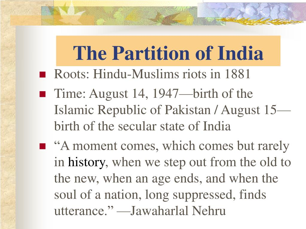 the partition of india l.