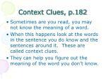 context clues p 182