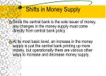 shifts in money supply