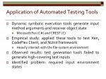 application of automated testing tools