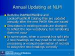 annual updating at nlm