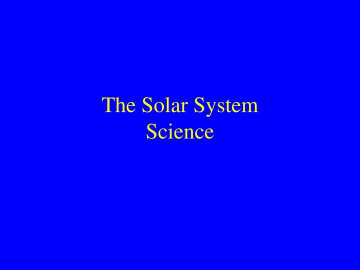 the solar system science n.