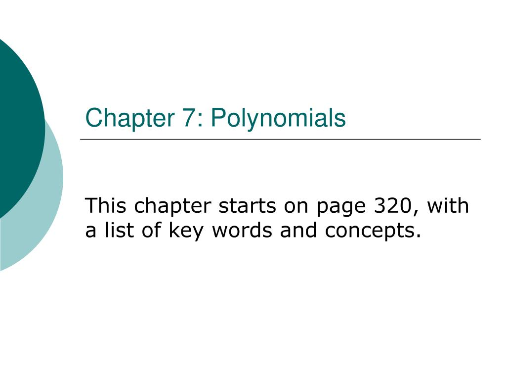 chapter 7 polynomials l.