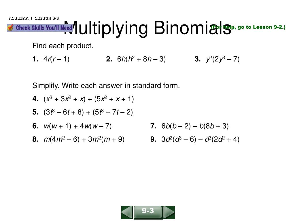 multiplying binomials l.