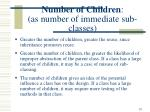 number of children as number of immediate sub classes