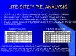 lite site p e analysis