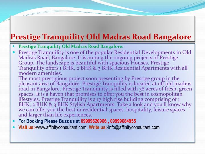 Prestige tranquility old madras road bangalore
