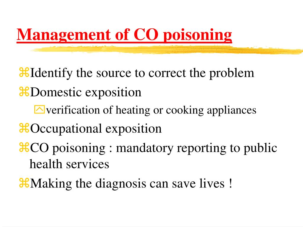 Management of CO poisoning