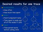desired results for one trace