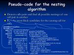 pseudo code for the nesting algorithm
