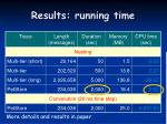 results running time