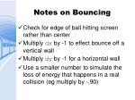 notes on bouncing
