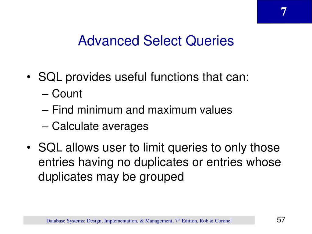Advanced Select Queries