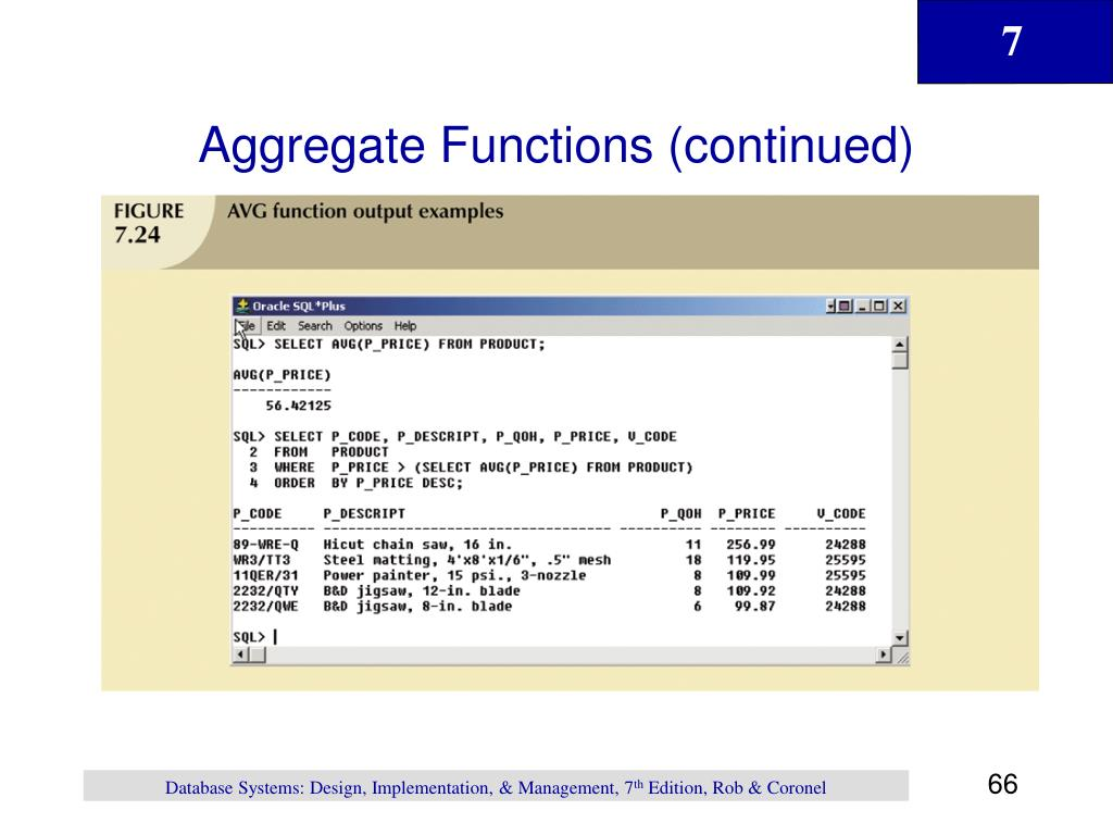 Aggregate Functions (continued)