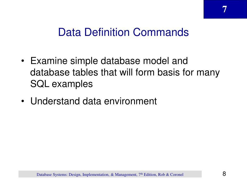 Data Definition Commands