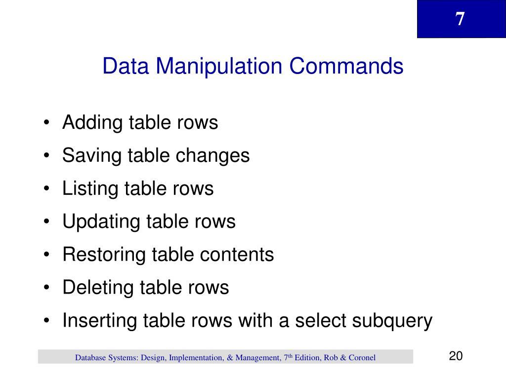 Data Manipulation Commands
