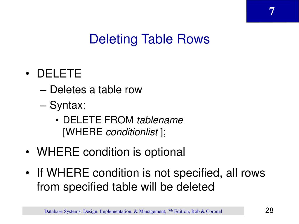 Deleting Table Rows