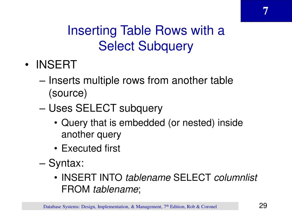 Inserting Table Rows with a