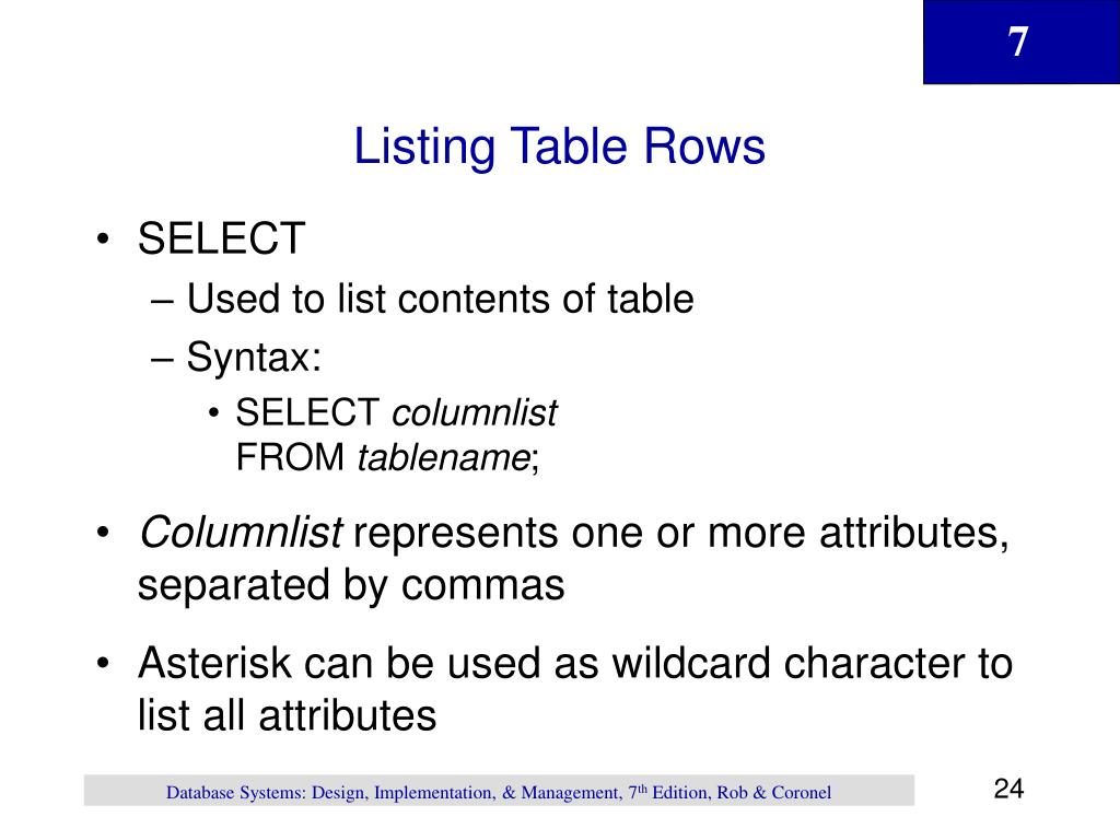 Listing Table Rows