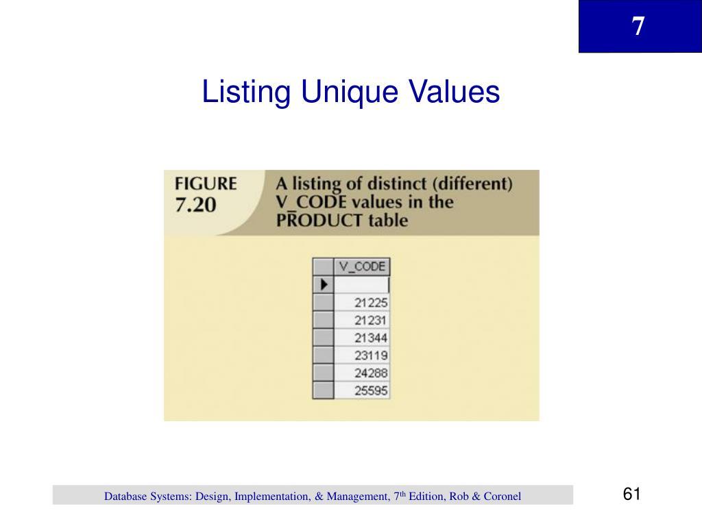 Listing Unique Values