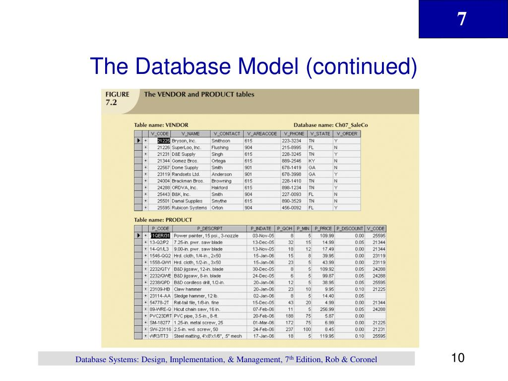 The Database Model (continued)
