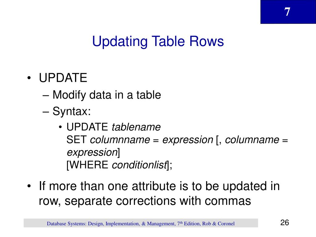 Updating Table Rows
