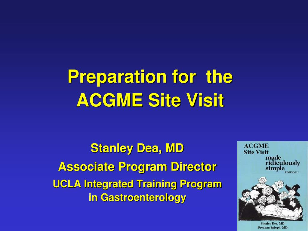 preparation for the acgme site visit l.