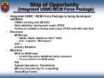ship of opportunity integrated usmc mcm force package