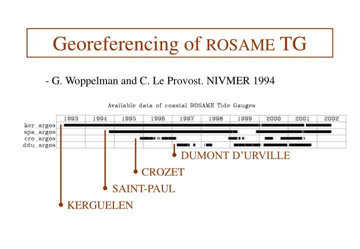 Georeferencing of rosame tg