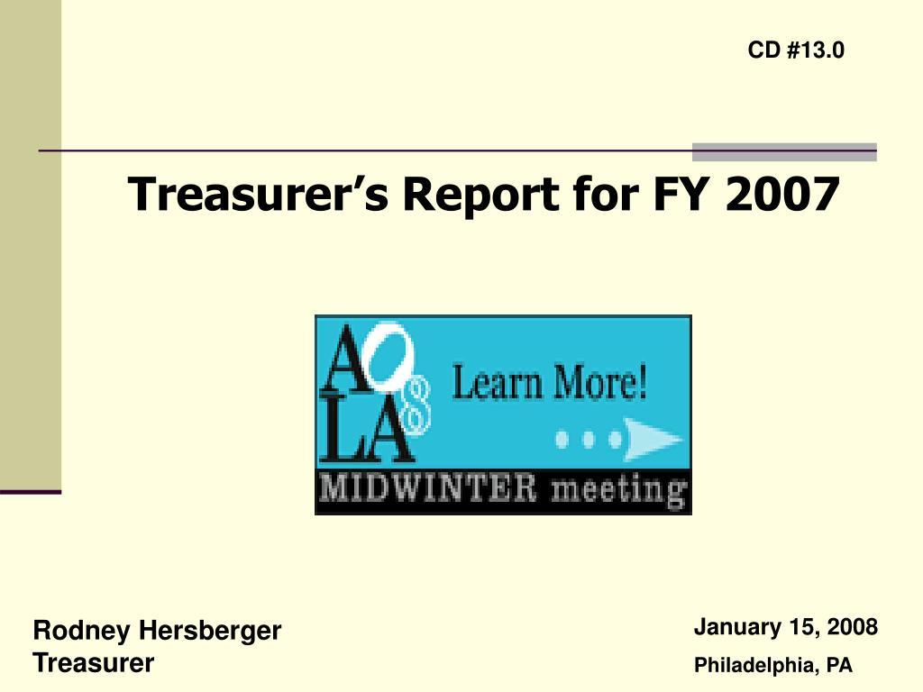 treasurer s report for fy 2007 l.