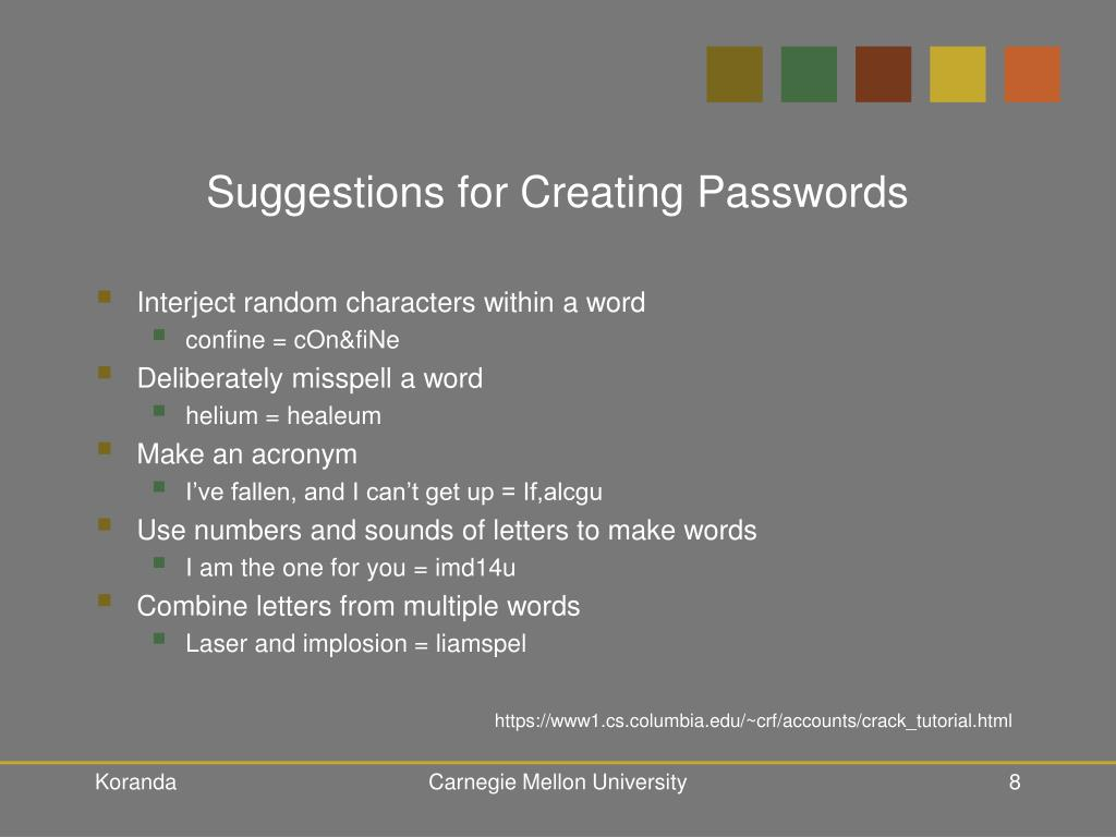Suggestions for Creating Passwords