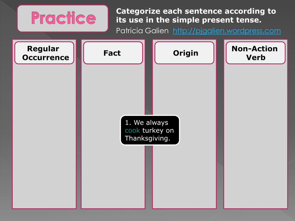 Categorize each sentence according to its use in the simple present tense.