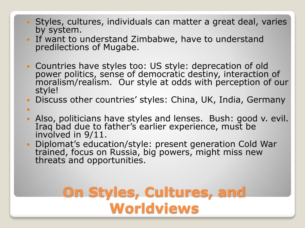 Styles, cultures, individuals can matter a great deal, varies by system.
