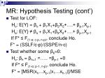 mr hypothesis testing cont