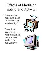 effects of media on eating and activity