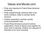 values and morals cont