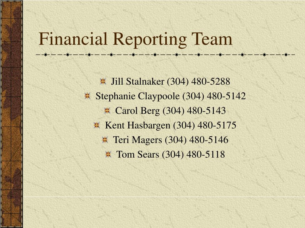 Financial Reporting Team