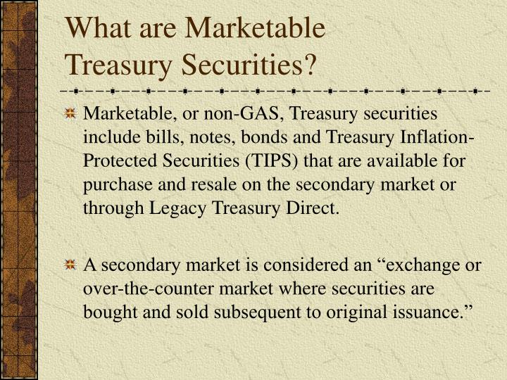 What are marketable treasury securities
