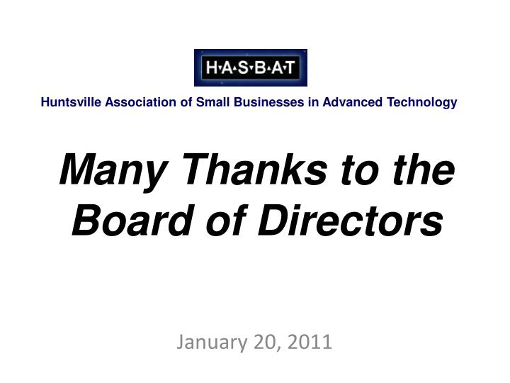 Many thanks to the board of directors