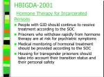 hbigda 2001 hormone therapy for incarcerated persons