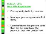hbigda 2001 real life experience