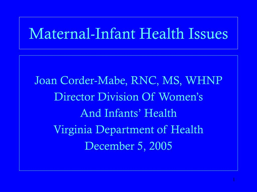 maternal infant health issues l.
