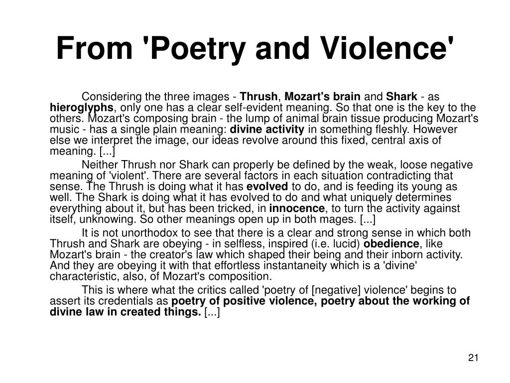 From 'Poetry and Violence'