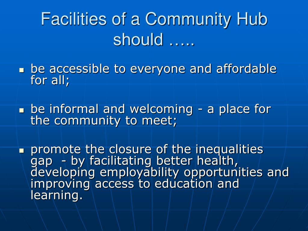 Facilities of a Community Hub should …..