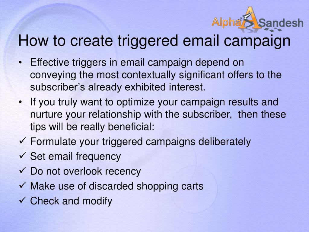 How to create triggered email campaign