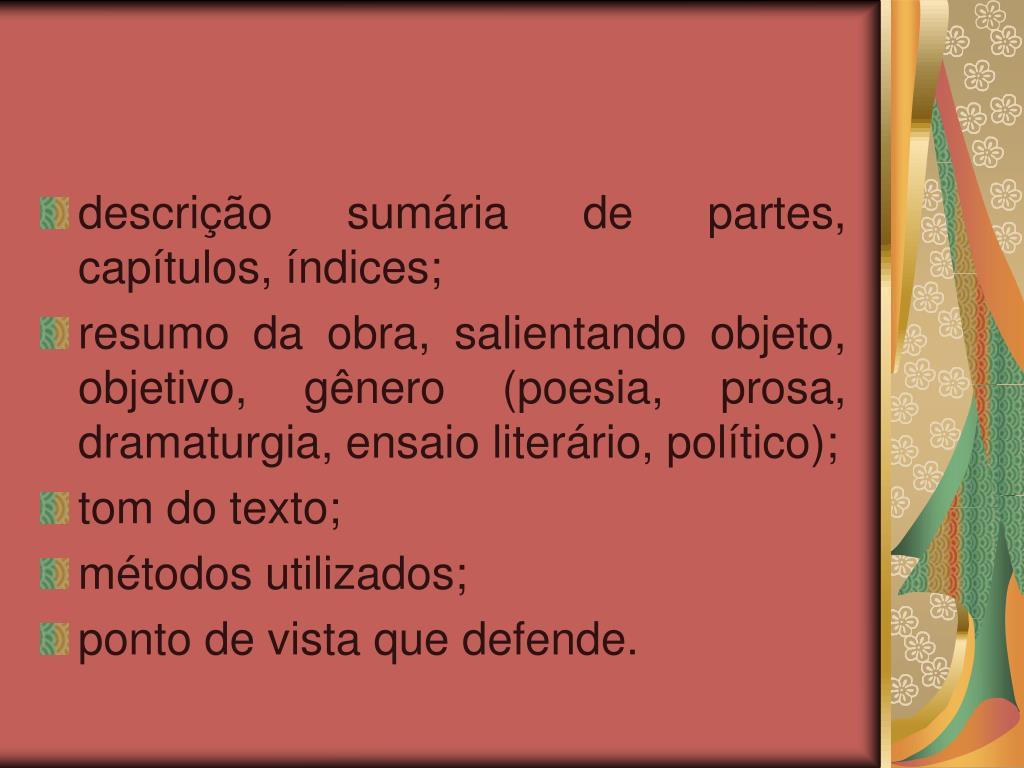 descrição sumária de partes, capítulos, índices;