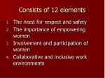consists of 12 elements