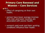 primary care renewal and women core services25